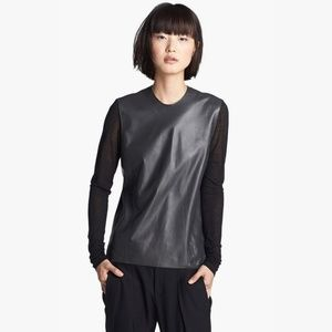 Helmut Lang Knit Sleeve Leather Top